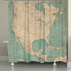 Laural Home® North America Map Shower Curtain in Beige