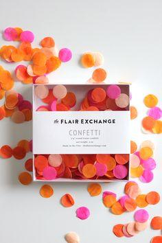 Handcut Confetti - Bright // Hot Pink, Orange, Peach and Tangerine confetti.