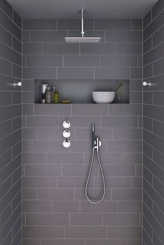 Ideas For Bathroom Remodel Grey And White Shower Niche Grey Bathroom Tiles, Laundry In Bathroom, Grey Bathrooms, Bathroom Renos, Beautiful Bathrooms, Bathroom Interior, Modern Bathroom, Grey Tiles, Bathroom Ideas