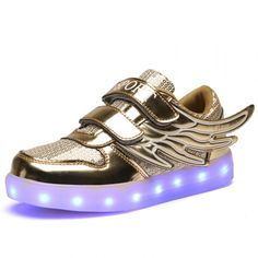 Kids Golden Sequins Light Up Trainers With Wings