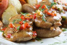 Chicken With Savory Orange Sauce ~~>Meaty chicken thighs become elegant in this easy entree.