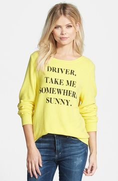 Free shipping and returns on Wildfox 'Somewhere Sunny' Sweatshirt at Nordstrom.com. A long-sleeve sweatshirt in a sunny yellow hue is inscribed with a polite change-of-scenery request.