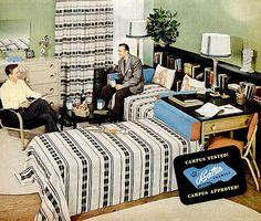 Bedroom (1949) | Dorm room bedroom in Bates fabric ad | Kimberly Lindbergs | Flickr