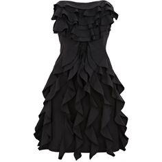 Black Taffeta Ruffle Dress (€15) ❤ liked on Polyvore featuring dresses, vestidos, black dresses, short dresses, women, fitted mini dress, layered dress, black mini dress, black dress and taffeta dress