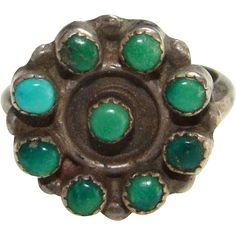 Vintage Turquoise Ring Southwestern Tribal Sterling Silver Size 5.75 to 6 Bohemian Boho Chic
