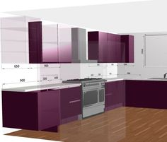 Modern Kitchen Inspiration. Glossy Aubergine Cabinetry. Free 3D Kitchen Planner by Direct Online Kitchens.