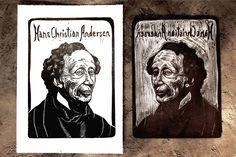 2018 LINOCUT PORTRAITS, APRIL-MAY on Behance #linocut #portrait #printmaking  #print #linoleum #writers #art #illustration #hanschristiranandersen #andersen