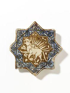 Tile Place of origin: Kashan, Iran (made) Date: ca. 1300 (made) Celtic Dragon, Celtic Art, Ceramic Mosaic Tile, Mosaic Art, Islamic Art Calligraphy, Calligraphy Alphabet, Islamic Tiles, Clay Wall Art, Art Nouveau Tiles