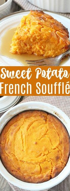 French style sweet potato soufflé is a fancified way of enjoying your sweet potatoes at the holidays. It's light, fluffy and delicious. Canned Sweet Potato Recipes, Canning Sweet Potatoes, Sweet Potato Diet, Easy Thanksgiving Recipes, Fall Recipes, Holiday Recipes, Thanksgiving 2017, Thanksgiving Sides, Thai Recipes