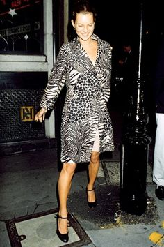 Kate Moss in Dolce and Gabbana jacket. Snapped leaving celeb hotspot The Ivy back at the height of its desirability in 1996, Miss Moss was already displaying a penchant for animal prints.