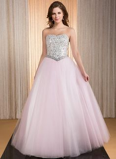 JJsHouse Ball-Gown Sweetheart Floor-Length Beading Sequins Zipper Up Strapless Sleeveless No Blushing Pink Winter Spring Summer Fall General Plus Taffeta Tulle Quinceanera Dress. Quince Dresses, 15 Dresses, Fashion Dresses, Tulle Prom Dress, I Dress, Tulle En Satin, Robes Quinceanera, Marquise, Bustier