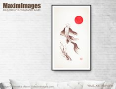 Art Print of Fine art sumi-e painting of Japanese Koi fish swimming towards the red sun on beige rice paper Buy this Wall Art at MaximImages Wall Art Prints, Fine Art Prints, Canvas Prints, Zen Home Decor, Sumi E Painting, Paper Wall Art, Japanese Koi, Red Sun, Fish Swimming