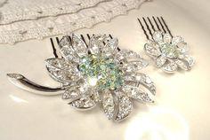 PAIR Mint Green & Clear Rhinestone Bridal Hair Combs, Silver Vintage Flower Brooch OOAK HeadPiece Flower Girl Jewelry Gift Wedding Accessory