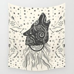 Bohemian wall tapestries, wolf, hippie tapestry, mandala wall tapestry, wall hanging  • 100% lightweight polyester with hand-sewn finished edges. • Vivid