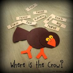 Easy Scarecrow Crafts and Games for Kids--love this crow made from basic shapes