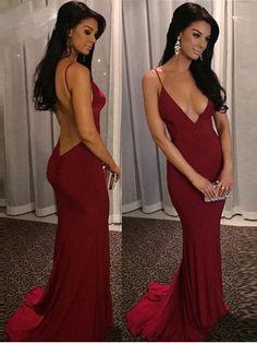 Deep V-neck Prom Dress, Sexy Spaghetti Straps Mermaid Long Prom Dress with Open Back MK520