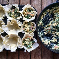 Filo Pies with Salmon and Kale