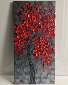 Discover thousands of images about Flor de cerezo rojo árbol pintura Original plata pared roja Red cherry blossom tree painting, Original Painting, silver red wall art decor, textured abstract art, impasto painting – Home Decor Accessories This origina Abstract Tree Painting, Abstract Art, Diy Painting, Painting Walls, Painting Flowers, Abstract Landscape, Knife Painting, Living Room Canvas Painting, Abstract Trees