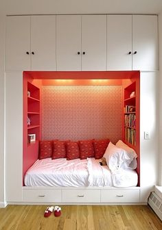 Nap nook. A cozy nook + built-in storage + Japanese Kimono inspired red = Love.