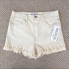 "2x HPNWT Wildfox Helena fringe denim shorts. Wildfox. The Helena. Super high rise cut off. Crochet detail & fringe hem. Off white - wash name ""vintage lace"". Stretch. 98% cotton 2% spandex. Size 28. SO cute!  NWT! TOP TRENDS HOST PICK 4/23 & WARDROBE REFRESH HOST PICK 5/22 Wildfox Shorts Jean Shorts"