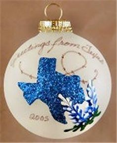 Texas w Bluebonnets Christmas Tree Glass Ornament