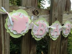 Pink and Green Baby Shower Banner - Baby Shower Decorations - Baby Shower Banner - Nursery Banner - Baby Shower Ideas