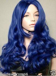New Cosplay Fashion Long Curly Dark Blue Wig | eBay