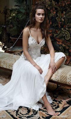 lihi hod bridal 2016 romantic tuscany wedding dress sleeveless embellished lace bodice spaghetti straps sit profile view