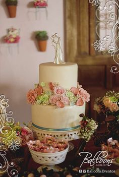 Tuscan wedding party cake! See more party planning ideas at CatchMyParty.com!