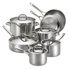 Anolon Tri-Ply Clad Stainless Steel 12-Piece Cookware Set.