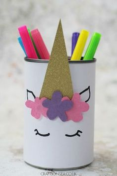 DIY Unicorn Pencil Holder is part of Kids Crafts For Girls - SharesI love this unicorn pencil holder and my kids did too as soon as they saw this they had to make their own! DIY pencil pots are really easy to make and as… Diy And Crafts Sewing, Easy Diy Crafts, Diy Crafts For Kids, Fun Crafts, Paper Crafts, Kids Diy, Recycled Crafts, Arts And Crafts For Kids For Summer, Easy Diys For Kids