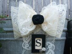 Shabby Chic Pew Bows SET OF 5 Lace Pew Bows Black and by OneFunDay, $50.00