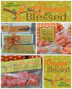 Orange We Blessed Thanksgiving {free} Printables.  This is such a perfect hostess gift or take-home treat for your guests.  Fun ideas!