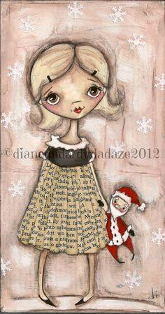 Original Mixed Media Painting on Wood    Santa BAby  ©dianeduda/dudaze  sold