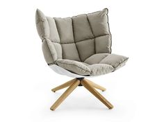 UPHOLSTERED TRESTLE-BASED FABRIC ARMCHAIR HUSK COLLECTION BY B&B ITALIA | DESIGN PATRICIA URQUIOLA