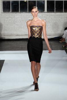 SS13 / altuzarra strapless black and gold cocktail dress