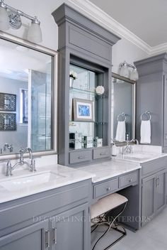 Gray and white bathroom--so chic and elegant! Gorgeous remodel.