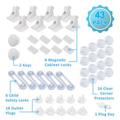 Magnetic Cabinet Locks Child Safety Kit 43 Pack  8 Magnetic Cabinet Locks 2 Keys 16 Clear Corner Protectors 10 Outlet Plugs 1 Key 6 Child Safety Locks No Drill Required Full Baby Proofing Set -- You can get additional details at the image link. (This is an affiliate link) Safety Kit, Baby Safety, Key Cabinet, Child Safety Locks, 2 Keys, Plugs, Drill, Magnets, Image Link