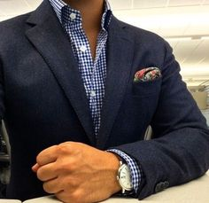Navy Blazer with Checked Shirt and relaxed floral pocket square      | HarperStein |