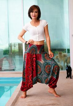 New Harem Pants Rayon Pants, Boho Mandalas Pants, Elastic Waist Clothing Beach Yoga Women Baggy Casual Red Color NG75599