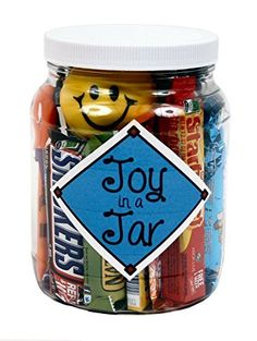 Joy in a JarThanks for this post.Designed to bring a smile to the face of someone you love, this happy gift is full of favorite candies, treats and fun favorites and arrives in a reusable 64 ounce plastic jar. Candy Gifts, Jar Gifts, Gift Jars, Food Gifts, Teacher Appreciation Gifts, Teacher Gifts, Diy Holiday Gifts, Handmade Christmas, Diy Gifts For Boyfriend