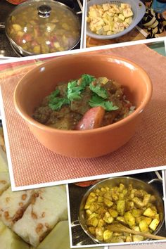 """*Eggplant and potato curry*  Peel and cube 2 eggplants, set aside in colander. Salt generously to """"sweat"""" the bitterness. Cube 4 potatoes  and set aside. In deep skillet, sauté  1 minced yellow onion, 3 cloves of minced garlic (fresh), 1 1/2 tablespoons madras curry powder, 1tsp garam masala powder.  Rinse eggplant and toss in skillet coating all pieces well. Add 1 can of mild tomatoes with chilis and enough vegetable or chicken stock to cover potatoes. Cover and simmer in low until fork…"""