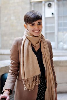 On the streets of Paris, this is a perfect example of how cute and chic super-short hair can be