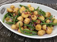 new potato and green bean salad with bacon shallot dressing and chive ...