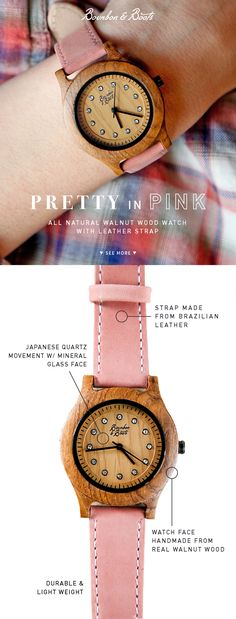 Our latest (and greatest) timepiece to give is  made from all Walnut Wood housing and a beautiful pink leather strap.