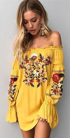 #spring #outfits  Yellow Floral Off fThe Shoulder Dress