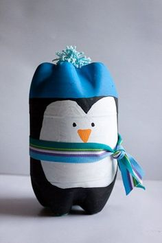 TOUCH this image: DIY Soda Bottle Penguin by Mable Crafts