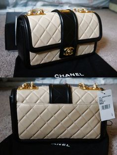 5ee3f04d11f2 NIB Chanel Nude Beige and Black Lambskin Flap Bag New with Tag  4400.0   Chanelhandbags