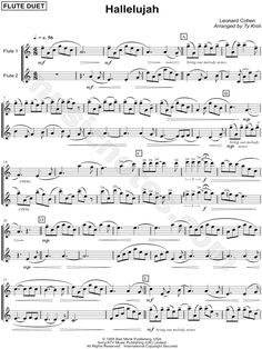 Print and download Hallelujah - Flute Duet sheet music by Leonard Cohen arranged for Flute 1 or Flute 2. Instrumental Duet in C Major.