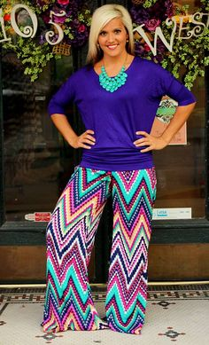 """Parker"" Palazzo Pants.  $39.99.  S, M, L, XL, 2X, 3X.  Shown with our famous Dolman Top ($16).  Available at 105 West Boutique in Abbeville, SC.  (864) 366-WEST.  Shipping $5."